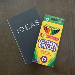 🛍Black IDEAS blank sketchbook journal & Crayola